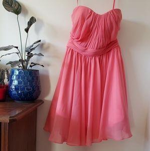 Watermelon knee length short bridesmaid dress
